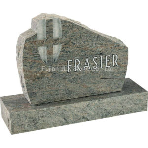 Granite Upright Monument with Cross Carving pictures & photos