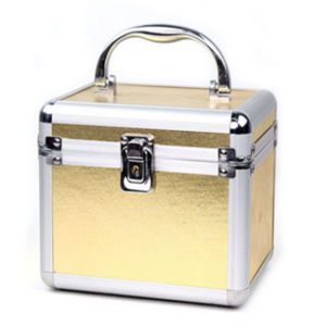 Portable Golden Aluminium+PU Empty Makeup Boxes Case pictures & photos
