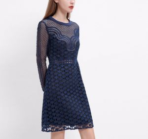 Spring Elegant Blue Embroidered Long Sleeve Star Pattern Women Dress pictures & photos