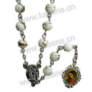 6mm Baking Varnished White Glass Rosary, Religious Catholic Rosary