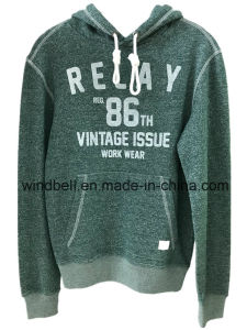 Green Yarn Dye Hoody for Men with Rubber Print pictures & photos