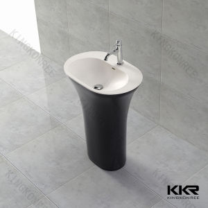 Small Round Solid Surface Floor Standing Pedestal Wash Basin pictures & photos