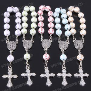 Hot Sale 8mm Ceramics Cross Bead Catholic Rosary Bracelet with Metal Cross