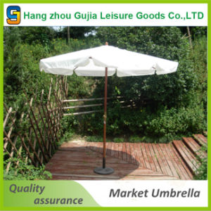 3m Outdoor Essential Wooden Garden Umbrella with Central Pole 48mm