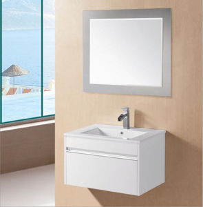 White Gloss MDF Wall Mounted Bathroom Vanity with Chrome Finger Pull (GRACE-750) pictures & photos