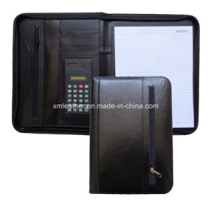 Dark Blue Best Leather Portfolio with Zip Side Pocket pictures & photos