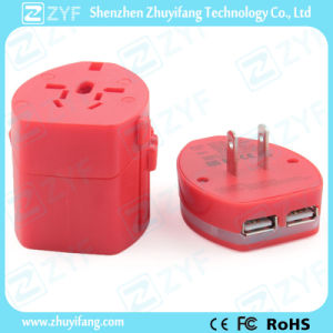 Red Portable Universal USB Charger Travel Adapter (ZYF9018) pictures & photos