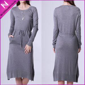 Comfy Women Cotton Jersey Waisted MIDI Dress