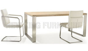 Modern Cheap Dining Set restaurant Table Dining Furniture Stainless Steel Foot Wood Dining Table (NK-DT063)