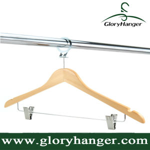 Luxury Anti-Theft Wooden Hotel Clothes Coat Hangers with Pants/Skirt Clips pictures & photos