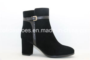 Classic Designs Chunky Heel Lady Leather Sexy Boots pictures & photos