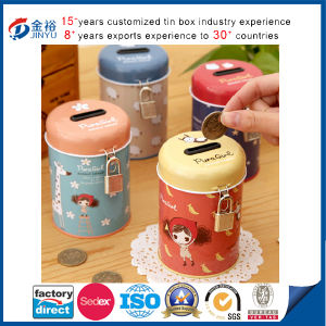 Round Shaped Locked Custom Printed Metal Coin Box pictures & photos