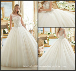 Diamante Beading Bridal Ball Gowns Bateau Bodice Tulle Wedding Dress 2017 Mrl2884 pictures & photos
