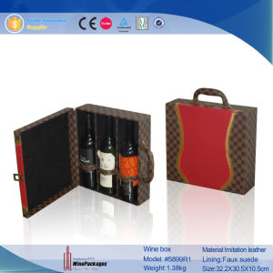 3 Bottle Wholesale Leather Fashionable Custom Wine Box (5899R1) pictures & photos