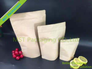 Kraft Paper Stand up Pouch with Paper Front+Clear Back pictures & photos