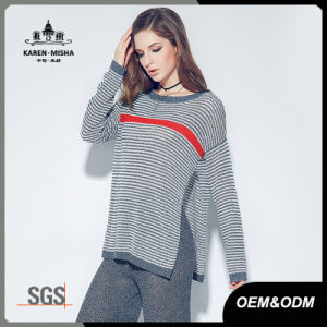 Women Long Sleeve Autumn Winter Striped Knitted Pullover Sweater pictures & photos