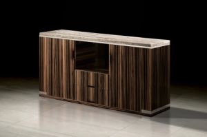 Modern Solid Wood Veneer with Travertine Top TV Stand (TV014) pictures & photos