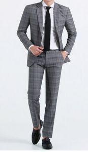 2017 Spring New Men′s Fashion Plaid Leisure Business Suit pictures & photos