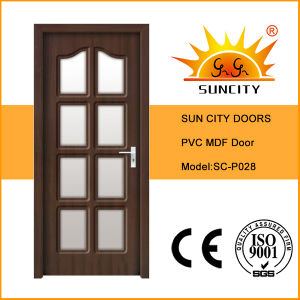 PVC Veneer Wooden Flush Doors with Glass (SC-P028) pictures & photos