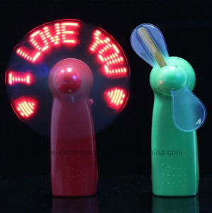 Summer LED Flashing Letters Battery Hand Fan with Logo Printed (3509) pictures & photos
