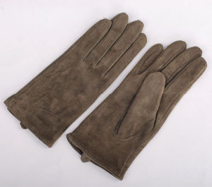 Lady Fashion Goatskin Suede Leather Driving Gloves (YKY5207) pictures & photos