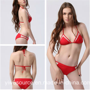 Sexy Triangle Mesh Halter Bikini Set (5718) pictures & photos