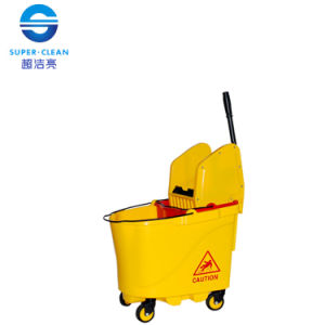 35L Plastic Down-Press Double Mop Wringer Trolley Bucket (B-046B) pictures & photos
