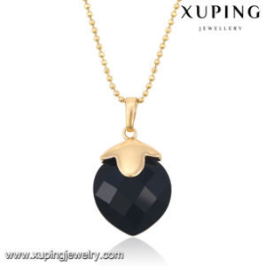 32652 Fashion Elegant Black CZ Stone 18k Gold-Plated Imitation Jewelry Chain Pendant pictures & photos