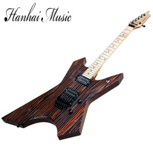 Hanhai Music / Unusual Shape X Electric Guitar with Zebra Wood Body pictures & photos