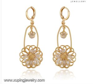 91702 Fashion Fancy CZ Diamond 18k Gold Color Imitation Jewelry Earring Drop pictures & photos