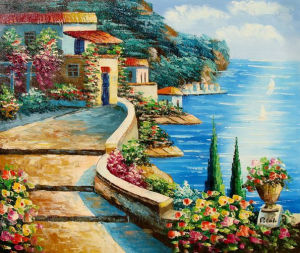 Latest Decorative Flower Sea Side Landscape Oil Painting (LH-335000) pictures & photos