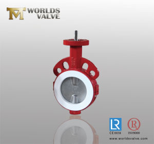 PTFE PFA Full Lined Wafer Type Butterfly Valve with CE ISO Wras Certificates pictures & photos
