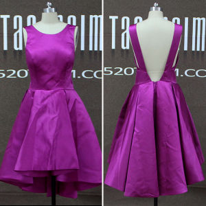 Real Photos Satin Backless High Low Short Prom Dresses (TM-PD203)