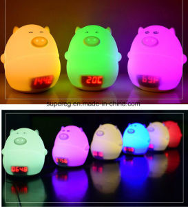 Lovely LED Silicone Pig Alarm Clock Lamp Night Light for Children and Kids pictures & photos