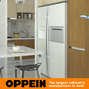 Modern Simple Light Color and Wood Grain Melamine Kitchen Cupboard (OP15-M07) pictures & photos