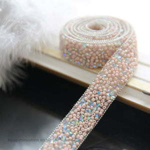 Pink Beads Adhesive Mesh Clear Strass Mesh Resin Stone Chain (TS-045) pictures & photos