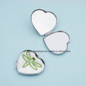 Customized Heart Shape Pocked Mirror with Dragonfly Stone Pattern BPS0221
