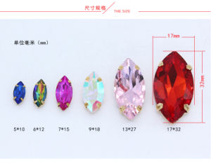 High Quality Glass Sew on Rhinestone Claw Setting Crystals for Handbags (SW-Navette/7*15mm) pictures & photos
