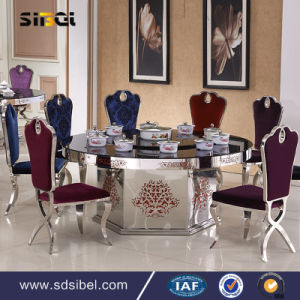 Stainless Steel Dining Table with Glass Set Metal Table pictures & photos