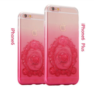 Latest Gradient Emboss Transparent Roses TPU Mobile Phone Case for iPhone 6/6 Plus Accessories (XSDD-024)