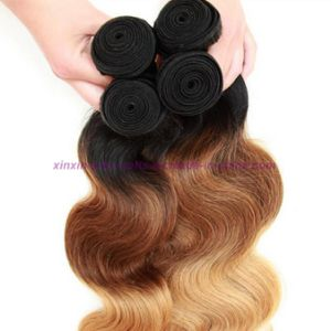 Blonde Weave Bundles Mongolian Ombre Human Hair Three Tones Ombre Hair Body Wave with 2, 3 or 4 Bundles