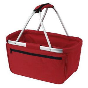 Ensulated Folding Shopping Picnic Basket with Collapsible Aluminum Handle pictures & photos