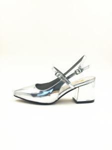 Metalic Silver Sandal for Summer Women Heel Sandal pictures & photos