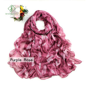 2017 New Dyed Shawl Printed with Feather Fashion Lady Silk Scarf pictures & photos