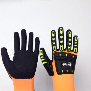 Sandy Nitrile Finished Nylon/Lycra Safety Gloves with TPR&Sponges Sewing pictures & photos