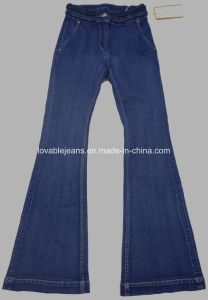 8.5oz Deep Blue Loose Bell-Bottomed Jeans (HYQ39-01S) pictures & photos
