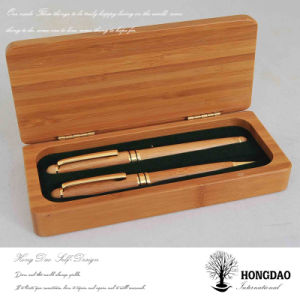 Hongdao Custom Bamboo Wooden Pen Packaging Box with Liner Wholesale_L pictures & photos