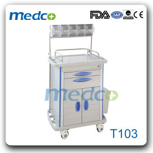Hospital ABS Treatment Cart Nursing Trolley with Drawers pictures & photos