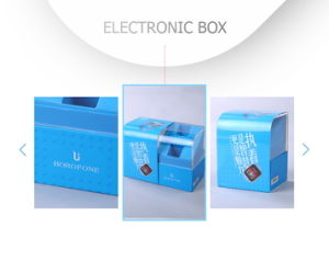 Simplicity Customized Blue Paper Sleeve Electronic Accessories Storage Box pictures & photos