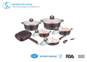 10PCS Rose Gold Aluminum Ceramic Coating Cookware Set pictures & photos
